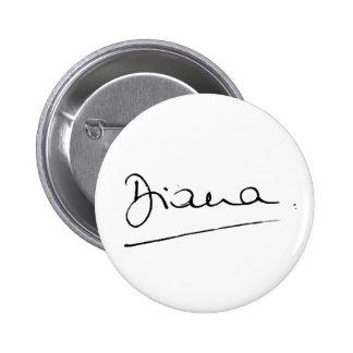 No.34 la firma de princesa Diana Pin Redondo De 2 Pulgadas