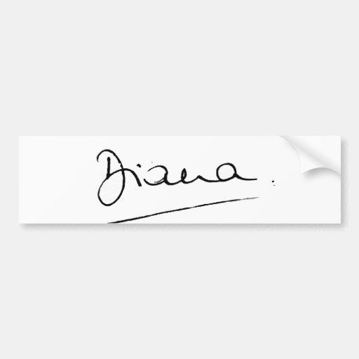 No.34 The signature of Princess Diana. Car Bumper Sticker