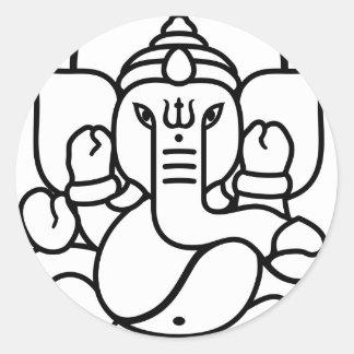 No. 3 (blanco negro) del elefante de Ganesha Pegatina Redonda