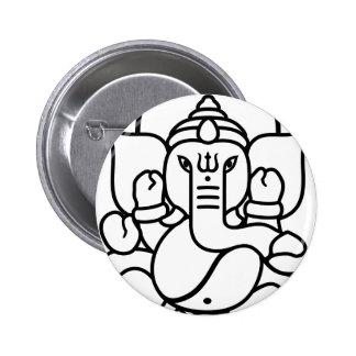 No 3 blanco negro del elefante de Ganesha Pin