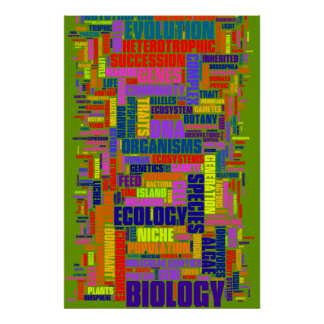 No. 3 de Wordle de la biología Póster
