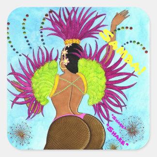 No. 3 del chica de la samba pegatina cuadrada