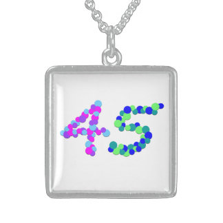 No 45 Numeric Sterling Silver Square Necklace