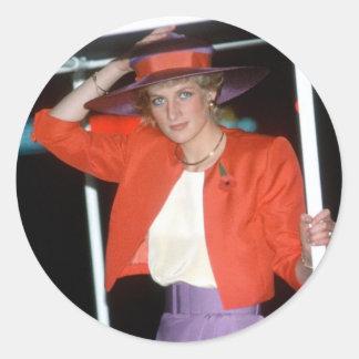 No.46 princesa Diana Hong Kong 1989 Pegatinas Redondas