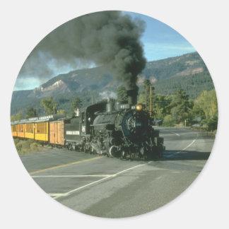 No. 481 crosses the highway north of Durango, Colo Classic Round Sticker