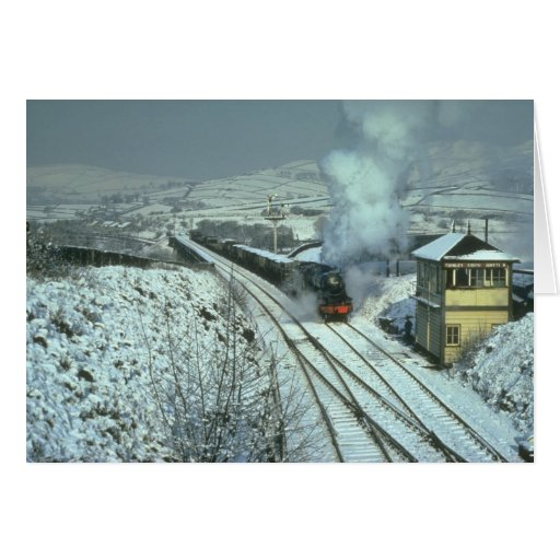 No. 48442 in a wintry setting at Chinley South Jun Greeting Card