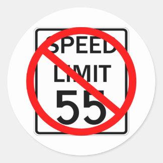 No 55 mph Speed Limit Sign Classic Round Sticker