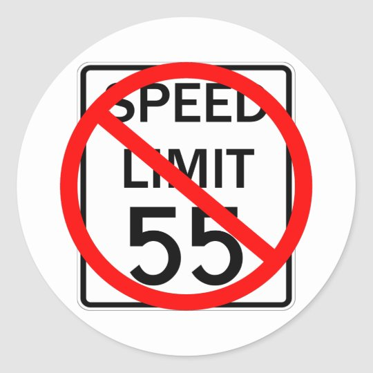 No 55 mph Speed Limit Sign Classic Round Sticker