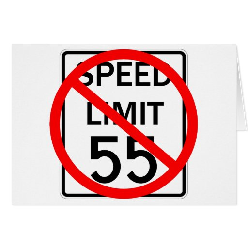 No 55 mph Speed Limit Sign Greeting Card