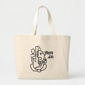 No. 5 (blanco negro) del elefante de Ganesha Bolsa De Mano