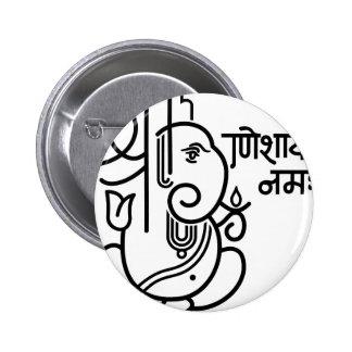 No 5 blanco negro del elefante de Ganesha Pins