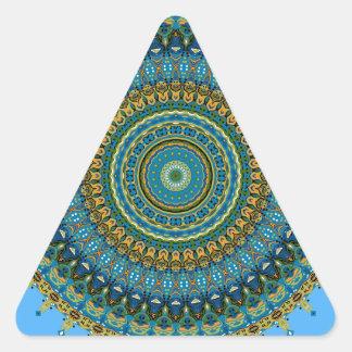 No. 5 del caleidoscopio de los azules de la pegatina triangular