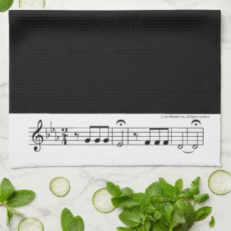 No. 5 (negro) de la sinfonía de Beethoven Toallas De Cocina