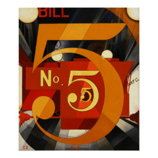 No. 5 Painting - The Figure 5 in Gold by Demuth Poster