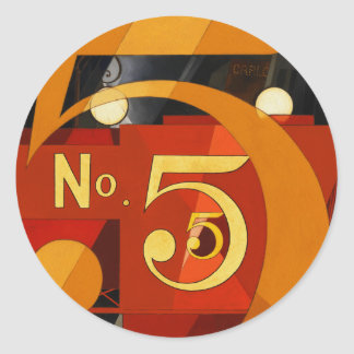 No 5 - The Figure 5 in Gold by Demuth Classic Round Sticker