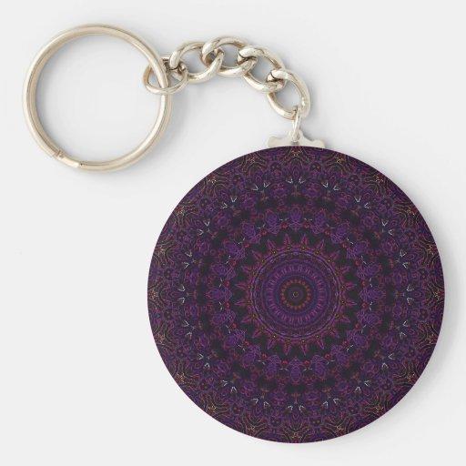 No. 6 de la púrpura de los rosas del terciopelo llavero redondo tipo pin