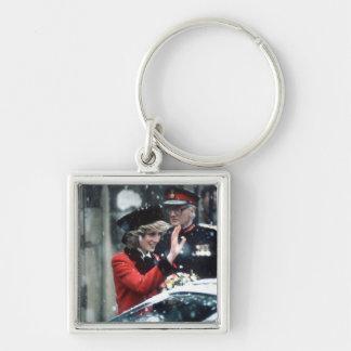 No.73 princesa Diana Cambridge 1985 Llavero Cuadrado Plateado