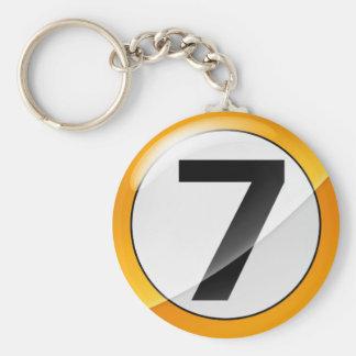 No.7 gold basic round button keychain