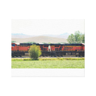 No # 908 -  Large Train - Pulling Empty Coal Stretched Canvas Print
