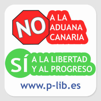 No a la Aduana Canaria - PM1 Calcomania Cuadradas