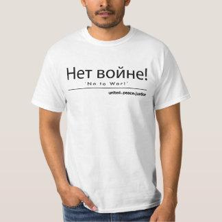 """""""No a la guerra!"""" Camiseta rusa Playera"""