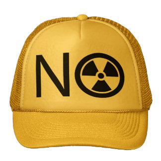 No a la radiación y a la energía atómica gorras