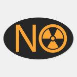 No a la radiación y a la energía atómica pegatinas ovales