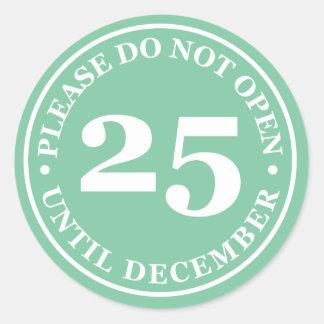 No abra por favor hasta el 25 de diciembre al pegatina redonda