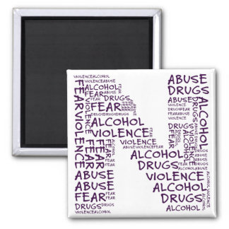 No Abuse, Drugs, or Fear (Letter N - Part of Set) 2 Inch Square Magnet