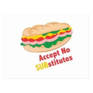 No acepte ningún substituto postal