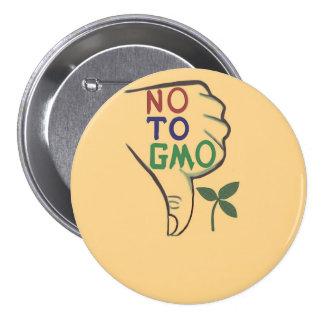 No, al botón genético modificado de la comida pin redondo de 3 pulgadas