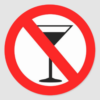 No Alcohol Sign Classic Round Sticker