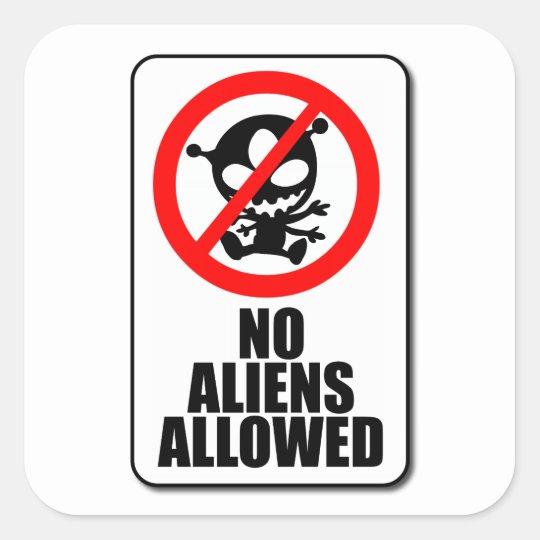 No Aliens Allowed Sticker