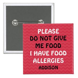 No alimente a alarma de la alergia alimentaria el pin cuadrado