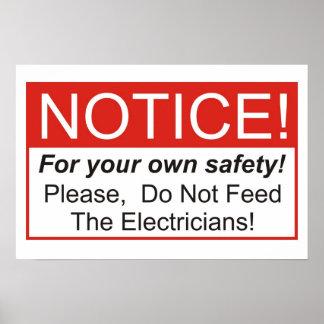 ¡No alimente a los electricistas! Póster