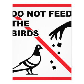 No alimente a pájaros la muestra membrete