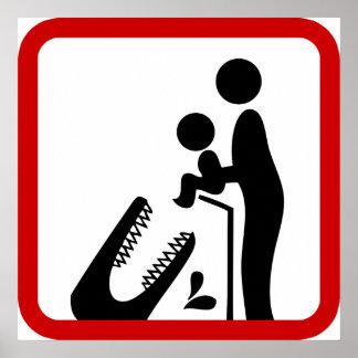 No alimente al bebé a la muestra del parque zoológ póster