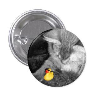 """""""No alimente el botón de goma del pato del gato"""" ( Pin Redondo De 1 Pulgada"""