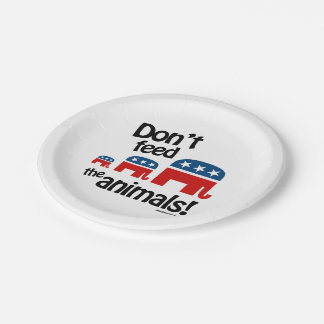 No alimente los animales plato de papel de 7 pulgadas