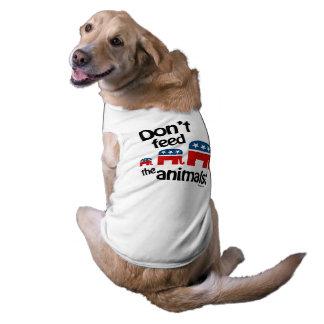 No alimente los animales playera sin mangas para perro