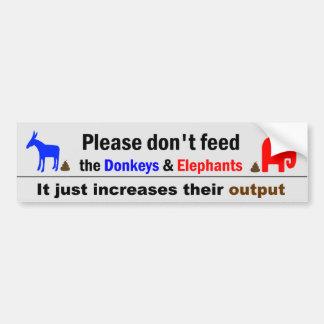 No alimente los burros y los elefantes etiqueta de parachoque