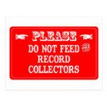 No alimente los colectores de registro tarjetas postales
