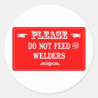 No alimente los soldadores pegatina redonda