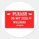 No alimente los soldadores pegatinas redondas