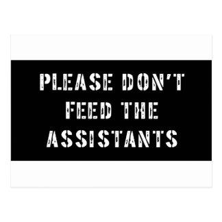 No alimente por favor a los ayudantes tarjeta postal