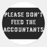 No alimente por favor a los contables pegatinas redondas