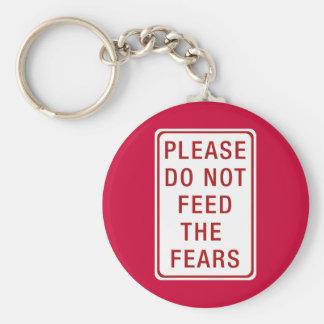 No alimente por favor los miedos llavero redondo tipo pin