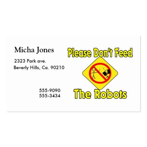 No alimente por favor los robots plantillas de tarjeta de negocio