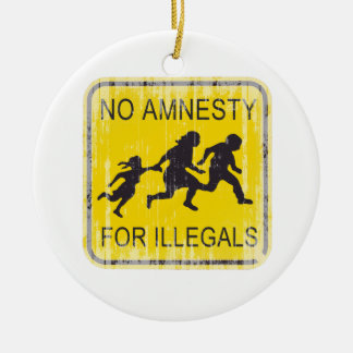 No Amnesty for illegals Faded.png Double-Sided Ceramic Round Christmas Ornament