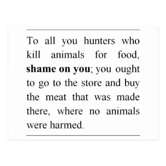 No animals harmed at supermarket meat counter? postcard